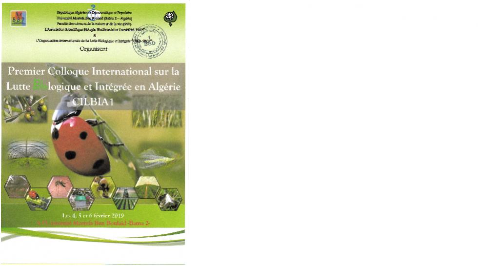Premier Colloque International sur la Lutte Biologique et Intégrée en Algérie CILBIA1